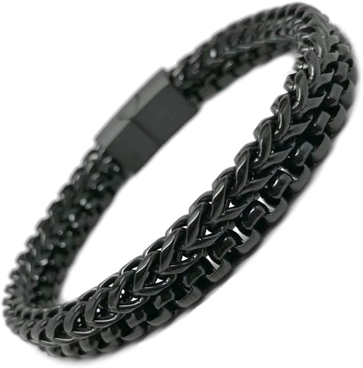 Black Silver Links Bracelet for Men,Brushed Gloss Stainless Steel Under £10 Gift