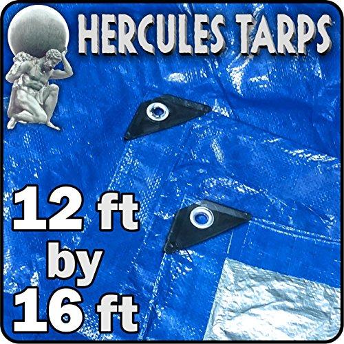 12' X 16' - Hercules Tarp Cover Waterproof Tarpaulin Plastic Tarp Protection Sheet Shelter for Contractors, Campers, (12' Plastic Handle)