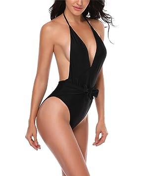 traje de baño de una pieza de mujer / traje de baño negro de ...