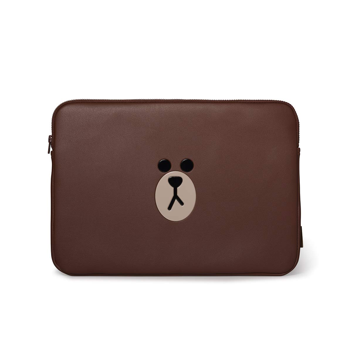 LINE FRIENDS Faux Leather Laptop Sleeve - Brown Character Case Cover 15 Inches, Brown