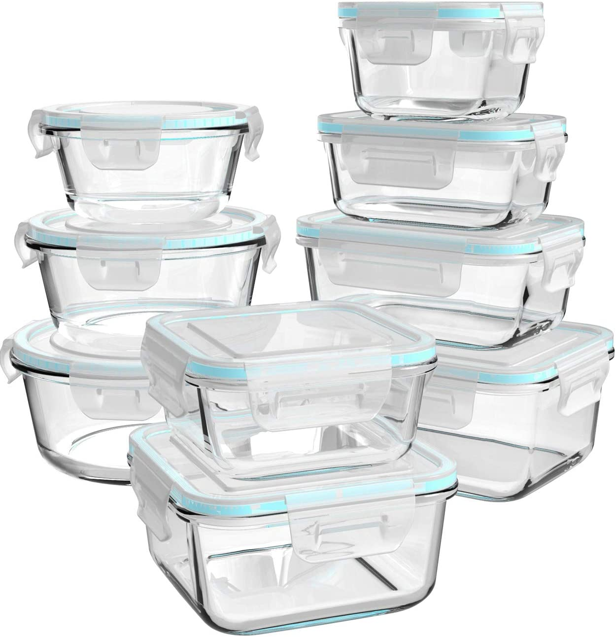 Glass Food Storage Containers with Lids, [18 Piece] Glass Meal Prep Containers, Glass Containers for Food Storage with Lids, BPA Free & FDA Approved & Leak Proof (9 Lids & 9 Containers)