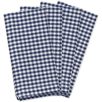 """KAF Home Gingham Napkins in Navy & White Woven Check, Set of 4, 19"""" by 19"""", Easy Care, Machine Washable"""