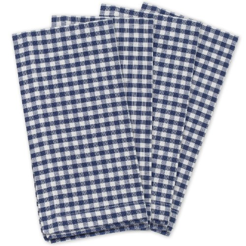 KAF Home Gingham Napkins in Navy & White Woven Check, Set of 4, 19