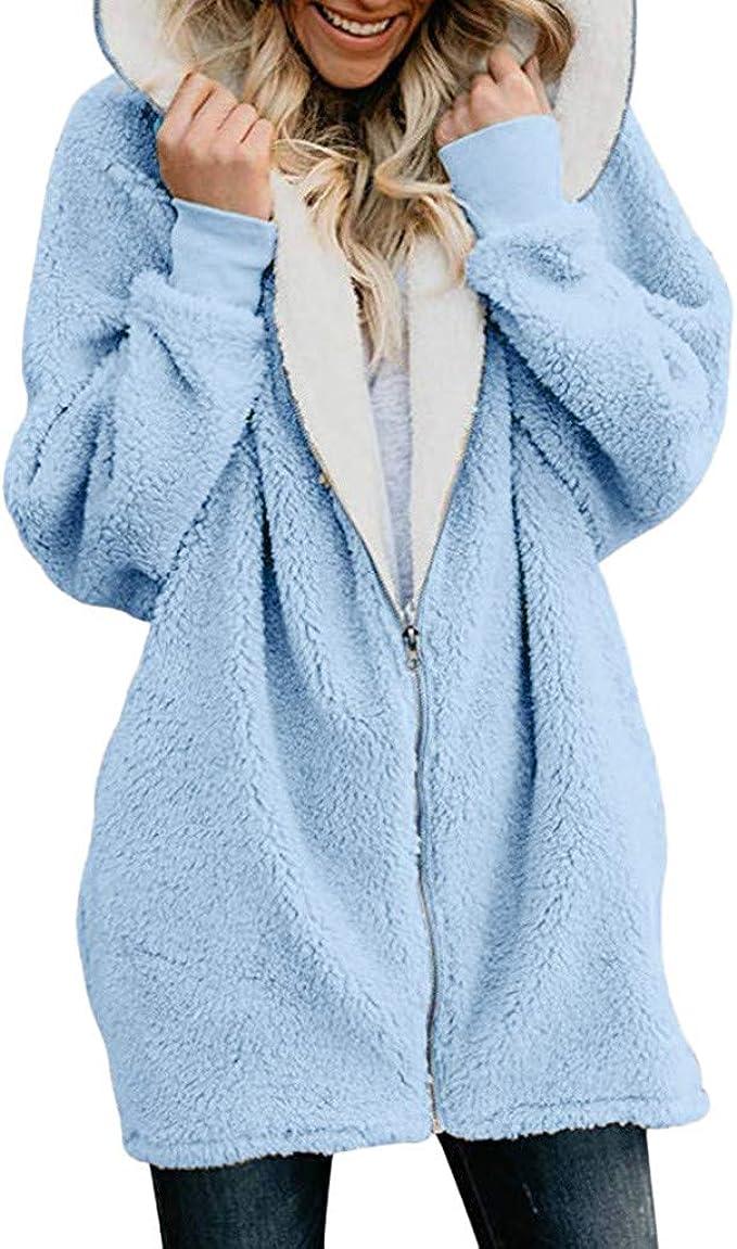 Womens Winter Fuzzy Fluffy Coat Fleece Fur Jacket Outerwear Hoody Sweater Coat