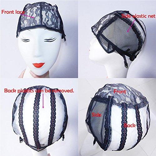 XCCOCO 2PCS Adjustable Weaving Cap for Wig Making Medium Size Mesh Lace Wig Cap For DIY Wig Black Color