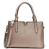 Celaine Womens Handbags V Series PU Leather Shoulder Satchel Bag - Gold Buckles and Zipper, Champagne Gold