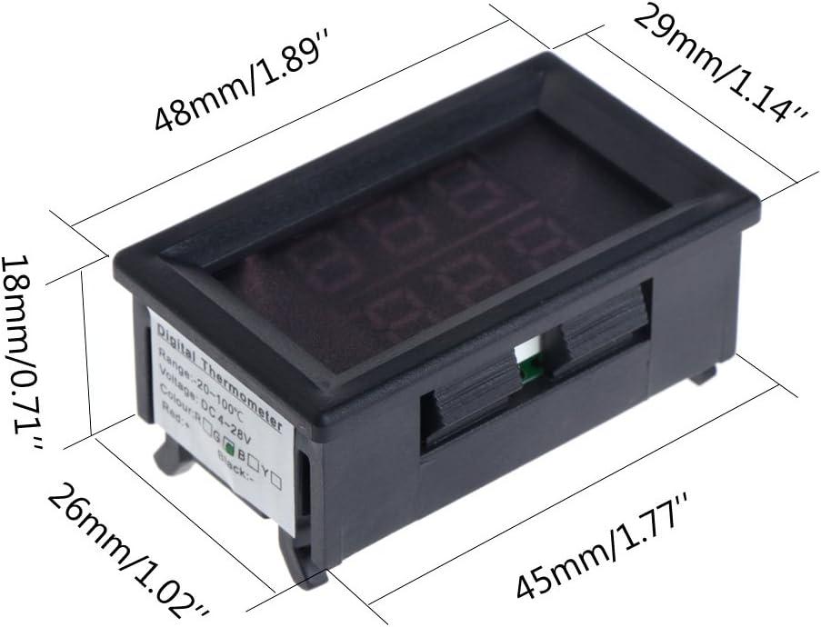 Qiman DC 4-28V Pr/äzision Dual Display Digital Thermometer NTC Wasserdichte Metallsonde