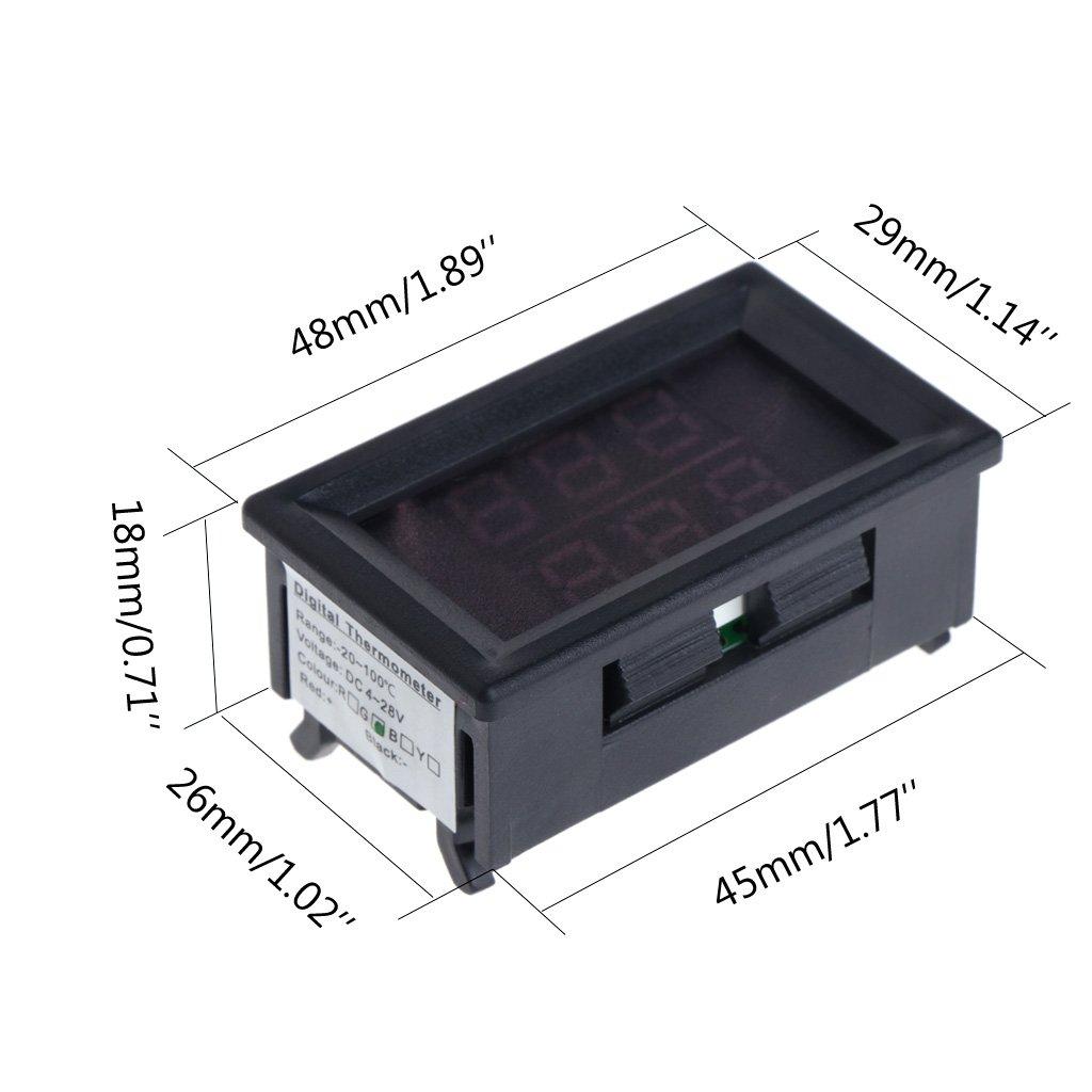 Basik DC 4-28V Term/ómetro digital de precisi/ón con dos indicadores resistente al agua, sonda de metal