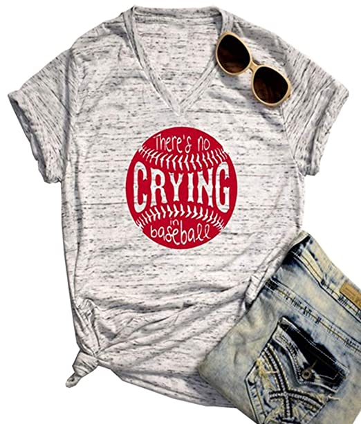 c49ffa8e Amazon.com: There's No Crying in Baseball T Shirt Graphic Baseball Tees for  Women Letter Graphic Print Sports Tees Casual Sayings Tops: Clothing