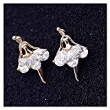 Mr Ribbt Womens Silver Planted Diamonds Ballet Girl Shapped Earings