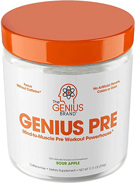 Genius Pre Workout Powder – All Natural Nootropic Preworkout & Caffeine Free Nitric Oxide Booster w/Beta Alanine & Alpha GPC | Boost Focus, Energy & NO | Muscle Builder Supplement – Essential Herbs