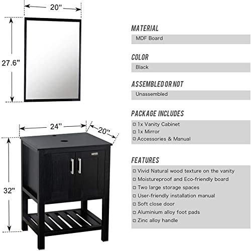 36 Black Bathroom Vanity and Sink Combo,0.5 Tempered Square Glass Vessel Sink Turquoise ,ORB Faucet,Drain Parts,Mounting Ring,Removable Side Vanity ,36 Bathroom Cabinet Set ,MDF Material board,Mirror