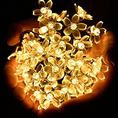 Ecolinear Fairy Blossom Flower Solar String Lights 50 LEDs Outdoor Solar Powered LED String Lights Waterproof Copper Wire Lights for Christmas Garden