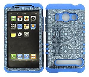 SHOCKPROOF HYBRID CELL PHONE COVER PROTECTOR FACEPLATE HARD CASE AND LIGHT BLUE SKIN WITH MINI STYLUS PEN. KOOL KASE ROCKER FOR HTC EVO 4G A9292 CIRCLES LB-TP1377-S-JC