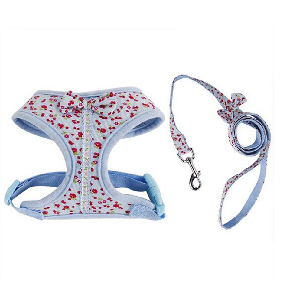UEETEK Blumenmuster winzig kleiner Hund Gurt Brustgeschirr mit Leine Blei - Grö ß e S (blau)