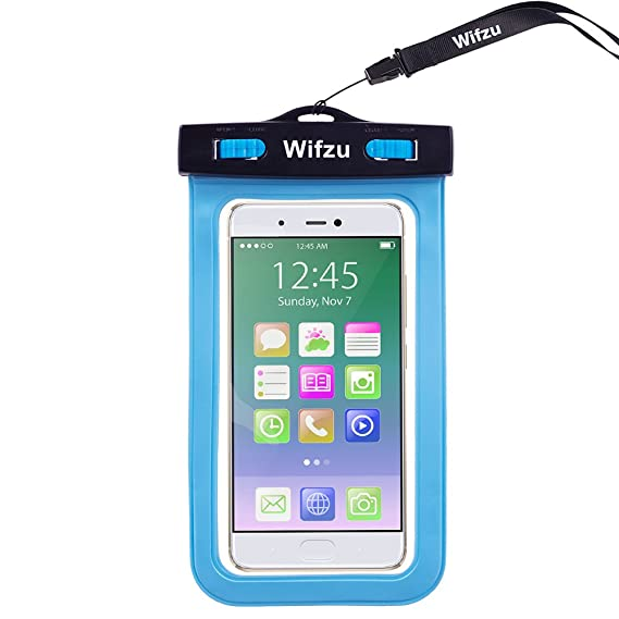purchase cheap 6a9e5 26189 Wifzu Waterproof Case Dry Bag Universal Cell Phone Pouch for 6-Inch  Phablets Water Resistant Blue