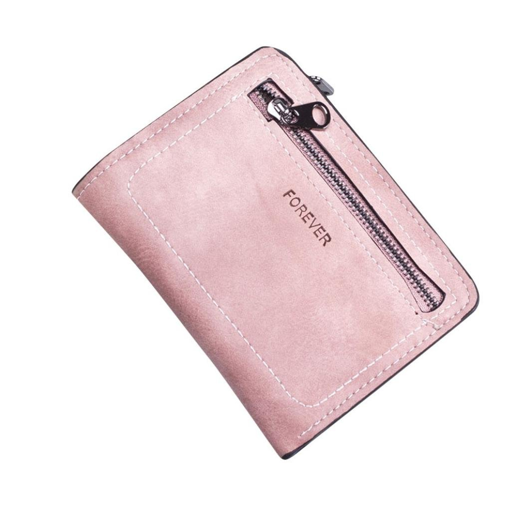 Paymenow Wallets for Women Girls Clearance Fashion Forever Letter Print Simple Zipper Short Wallet Card Holders Handbag Coin Purse (Pink)