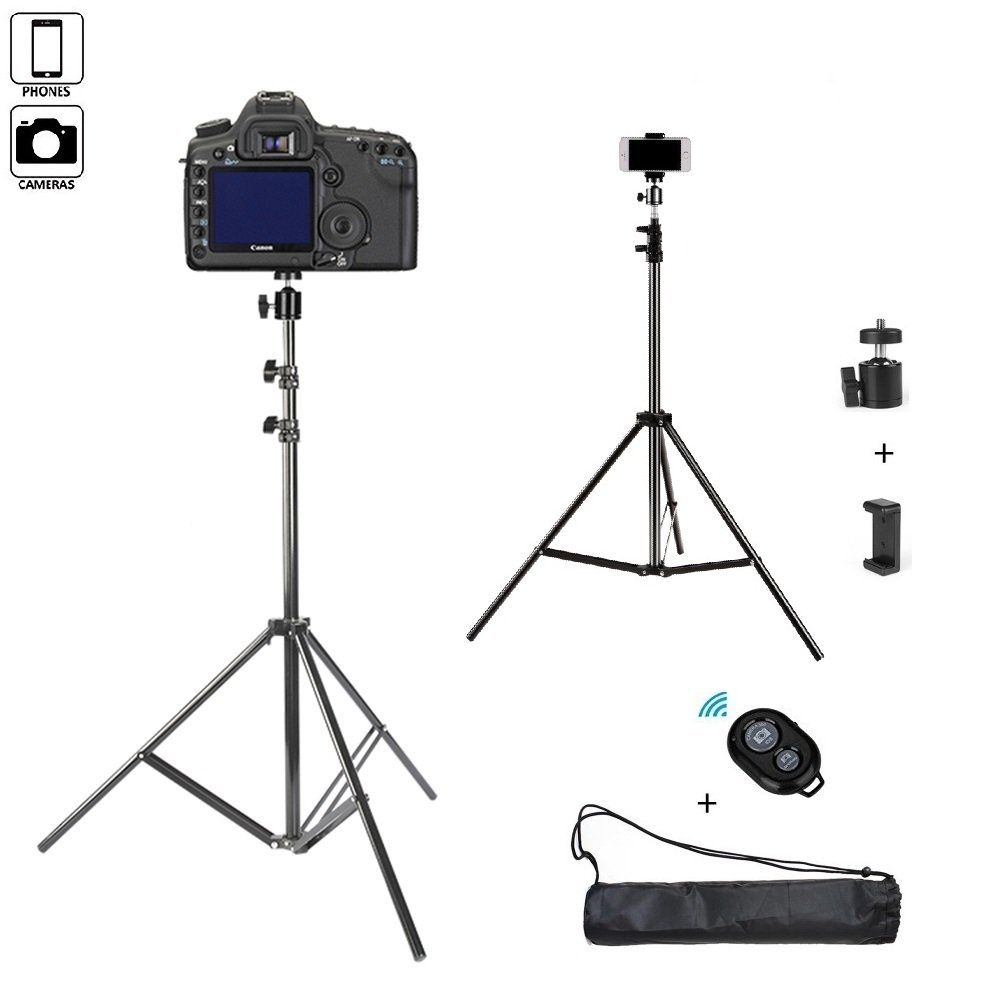Adjustable Camera Tripod, Wonsain 82 Inch Extendable Tripod with Mobile Phone Clip Mount, Compatible with Cellphone, DSLRs, Digital Cameras and Action Cameras for Selfie and Live Video