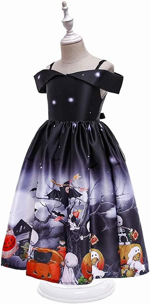 MYRISAM Kids Girls Halloween Costume Dress w//Witch Hat Ghost Pumpkin Skull Printed Fancy Dress Up Cosplay Party Outfits