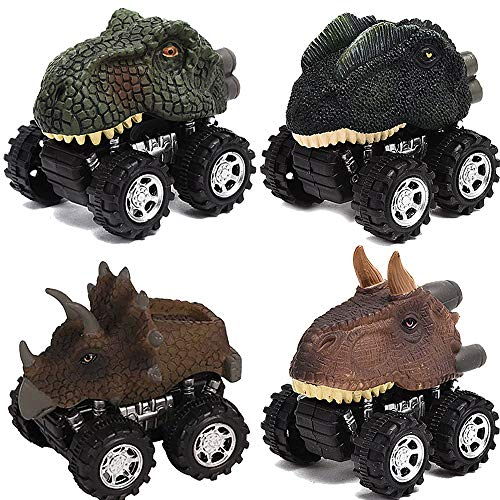 kecivnte Pull Back Original Dinosaur Cars 4-Pack Dino Cars Toys with Big Tire Wheel for 3-14 Year Old Boys Girls Creative Gifts for Kids Animal Vehicles for Kids Party Favors