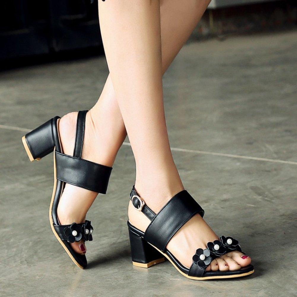 Women's Sweet Flower Heeled Toe Sandals Open Toe Heeled Buckle Chunky Block Heel Wedges Summer Dress Shoes B07FY1DMMX 8 M US|Black 3dc673