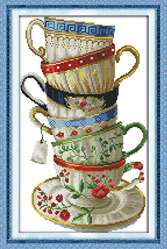 Maydear Full Range of Embroidery Starter Kits Stamped Cross Stitch Kits Beginners for DIY Embroidery with 40 Pattern Designs - Coffee Cup (Coffee Cups Hd Design)