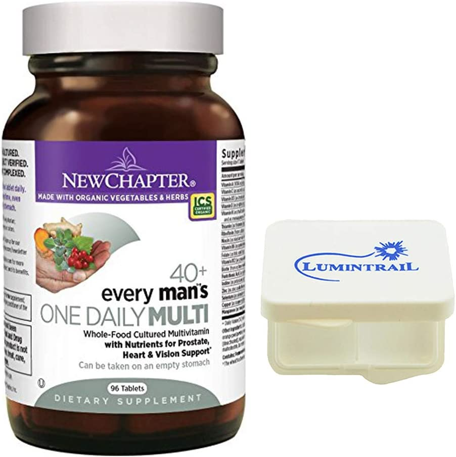 New Chapter Every Man s One Daily 40 Multivitamin with Nutrients for Prostate, Heart, and Vision – 96 ct Tablets Bundle with a Lumintrail Pill Case