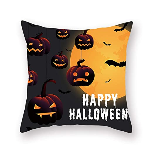 WJ Halloween Home Print - Funda de Almohada Corta, Orange 6 ...