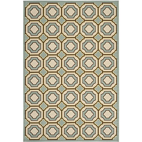 Safavieh Hampton Collection HAM509AL Light Blue and Ivory Indoor/ Outdoor Area Rug (4′ x 6′)