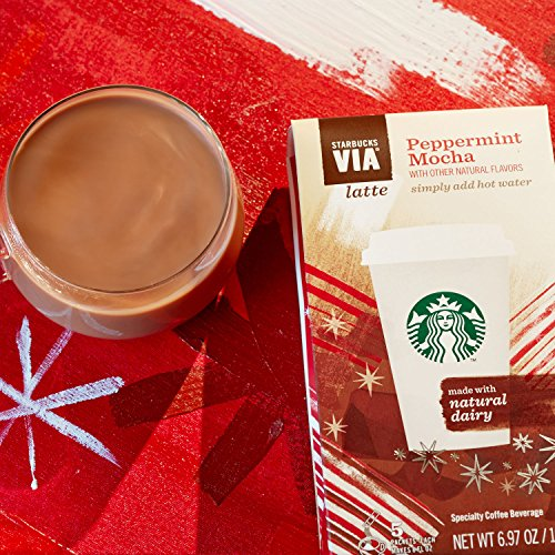 Starbucks Via Peppermint Mocha Flavored Coffee 5 single-serve packets