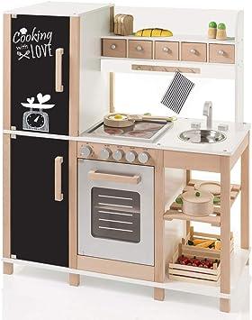 SUN Kinderküche aus Holz mit Magnetwand (Beere-Weiß) Spielküche Küche