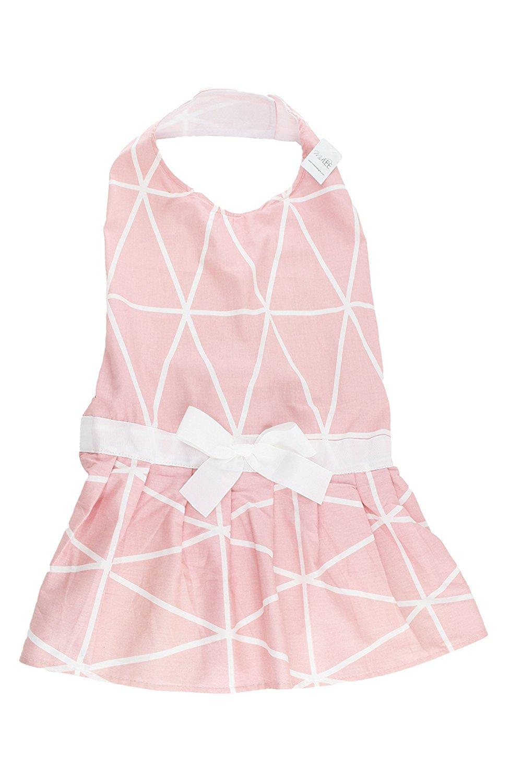 Midlee Pink Geometric Big Dog Dress by (X-Large)