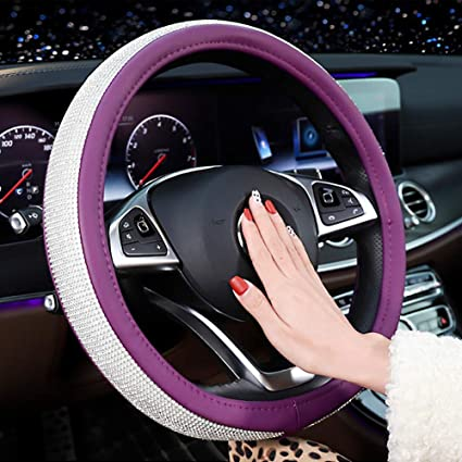 Back Packers Steering Wheel Cover Diamond Microfiber Leather Steering Car Wheel Covers Universal Size with Crystal Bling Bling Rhinestones for Girls