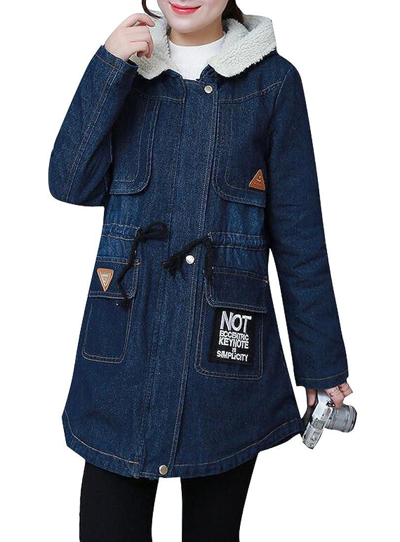 BYWX-Women Outerwear Hoodie Winter Sherpa Wool Denim Long Trench Coat