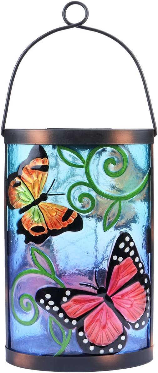 Hanging Solar Lantern Outdoor Decorative Waterproof LED Solar Butterfly Lights Tabletop Lamp for Outdoor Patio Garden
