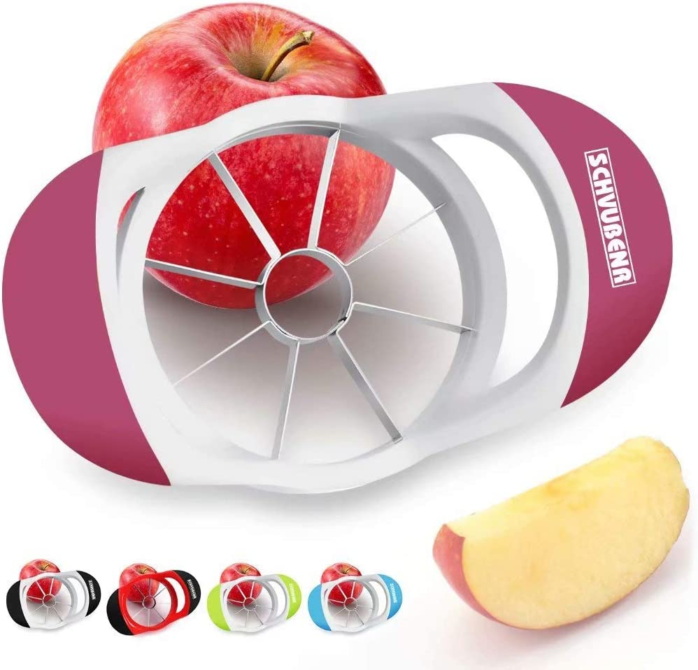 SCHVUBENR 3.5 Inch Apple Slicer - Professional Apple Cutter - Stainless Steel Apple Corer - Super Sharp Apple Slicer and Corer - Apple Corer Tool with 8 Sharp Blades(Pink)
