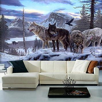 Papel Pintado Fotomural Caza de lobos Fondo de Pantalla 3D ...