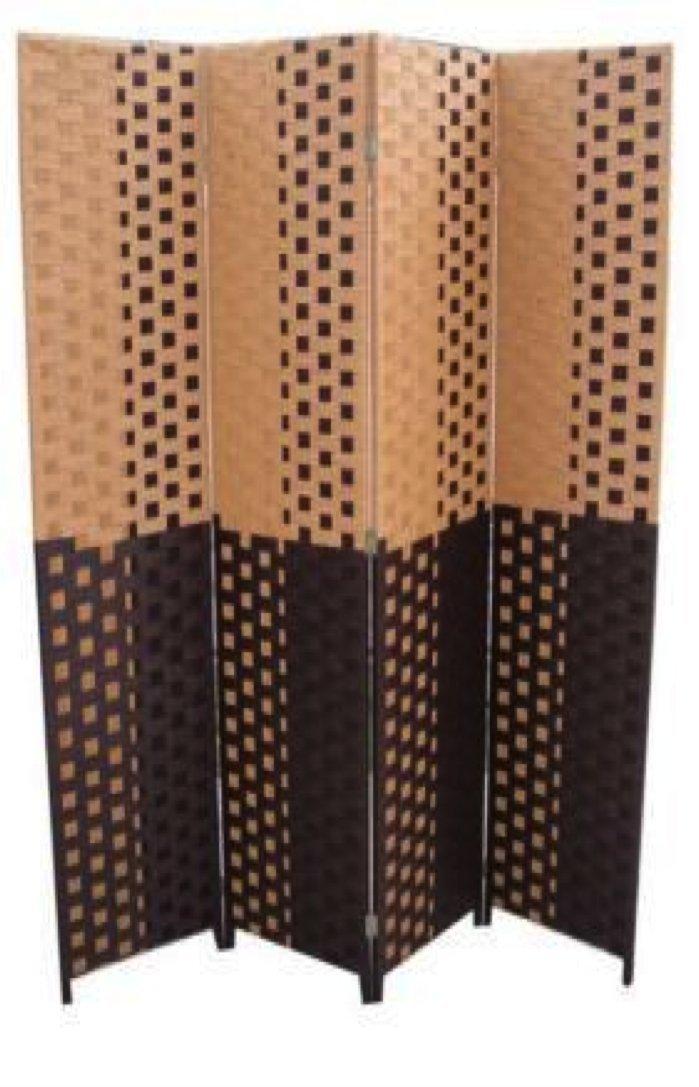 Amazon Com Ore International Fw0676uf 4 Panel Screen Room Divider On 2 Inch Leg Black White Paper Straw Weave
