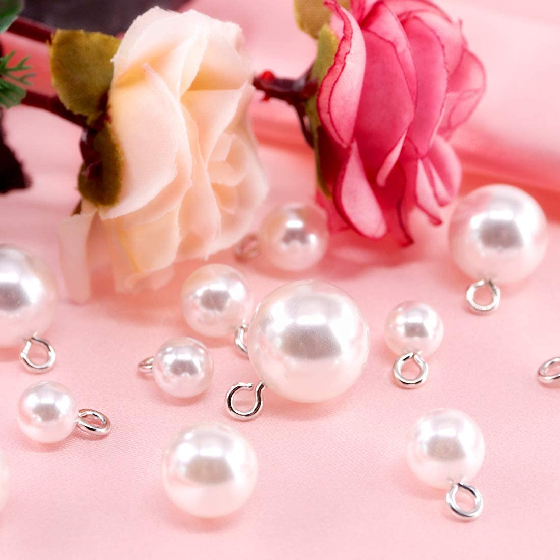 Rustark 90 Pcs White Pearl Button Resin Dome Cap Copper Base Pearl Buttons with Shank DIY Embellishments Beads/Buttons for Jewelry Clothes Bags Shoes Wedding Dress and Crafting 8mm to 16mm