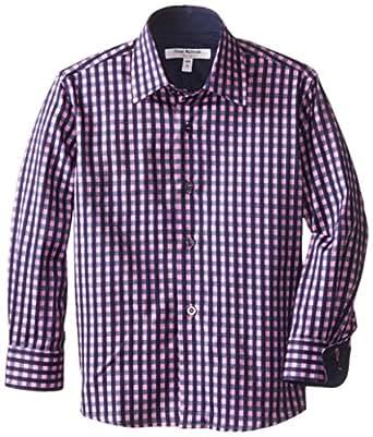 Isaac Mizrahi Little Boys' 2 Tone Gingham Shirt, Fuchsia/Navy, 2-3