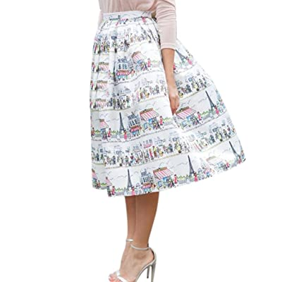 Anshinto Summer Womans Natural Fashion Straight Womans Floral Printing Knee-Length Skirt