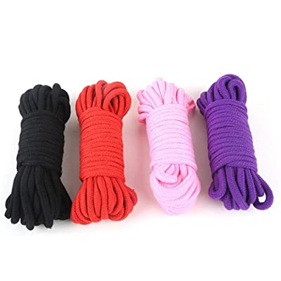 4 Pack Multipurpose Rope Soft - 32 Feet Length Nylon Cord (Red & Purple & Black & Pink): Home & Kitchen