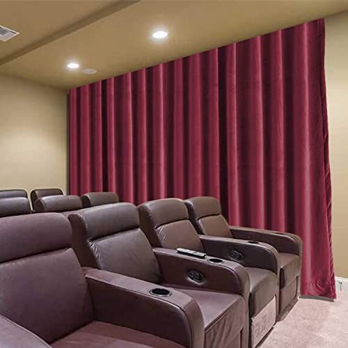 Frelement Large Movie Theater 250W x 96L Inches Noise Reduction Velvet Privacy Flat Hooks Curtains Master Bedroom Drapes with Blackout Lining, Burgundy Red, 1 Panel