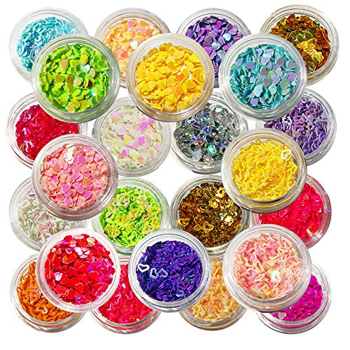 24 Boxes Nail Art Sequin Heart Shape Colorful Nail Glitter Slime Supplies Kit DIY Design Face Body Make Up Decoration Gift by Happlee]()