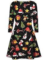 New Women Christmas Xmas Novelty Gift Bells Long Sleeve Check Tartan Swing Flared Dress