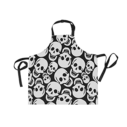 Amazon Com Adult Kitchen Aprons Funny Skull Black And White Bib
