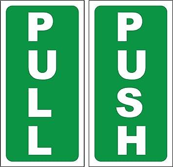 push pull door sign sticker self adhesive 180mm x 90mm amazon