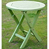 International Caravan TT-RT-014-MGN-IC Furniture Piece Acacia Round Folding Table For Sale