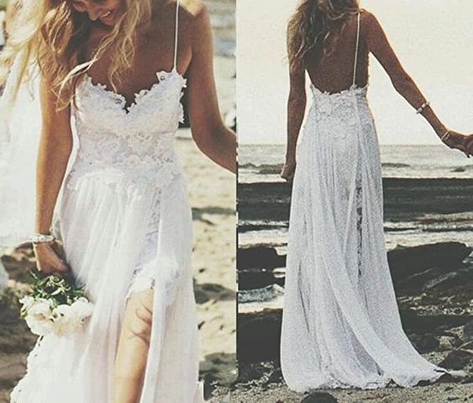 Sexy Beach Wedding Dress A line Lace Chiffon Bohemian Vestidos de Novia at Amazon Womens Clothing store: