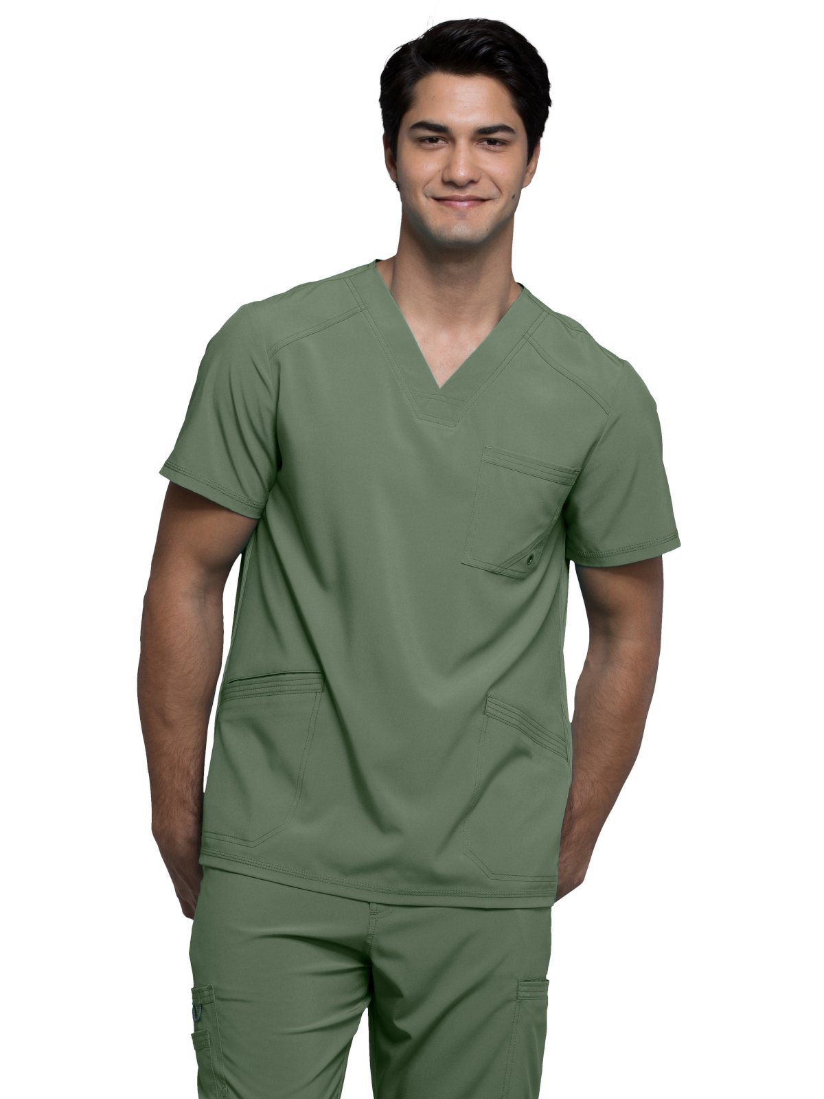 Cherokee Infinity by Men's V-Neck Solid Scrub Top XXXX-Large Olive